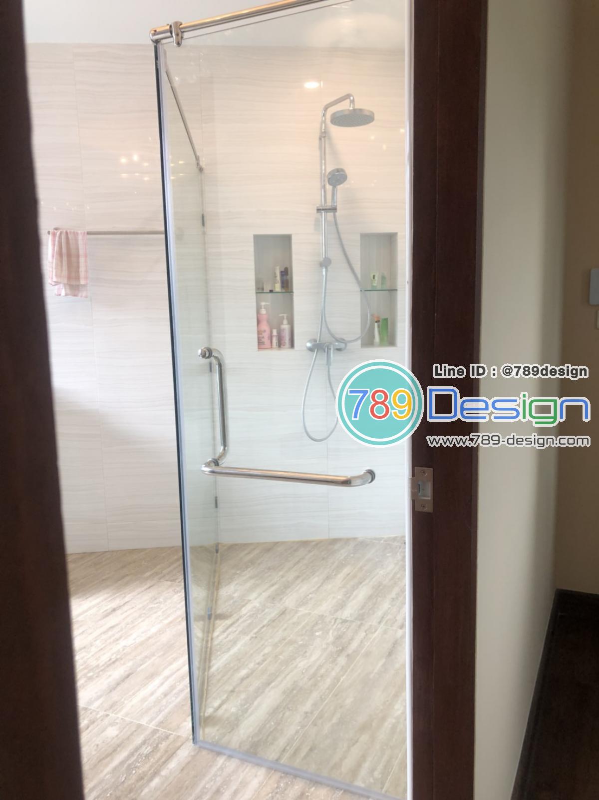 กระจกกั้นอาบน้ำ กระจก shower เทอร์เปอร์ บานเปลือย แบบ บานเปิด และบานเลื่อนเปลือย